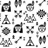 Indiański bezszwowy wzór dla, rodowitego amerykanina tło z teepee, strzała, i Ilustracji