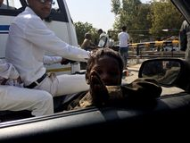 Indiański biedny dziecko ono modli się samochód wśrodku ludzi mówi zadawala daje ja pieniądze Fotografia Royalty Free