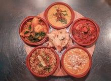 Indiański curry'ego Thali wybór fotografia royalty free