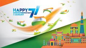 Indiański dnia niepodległości projekt dla witać, sztandar lub tło ilustracji