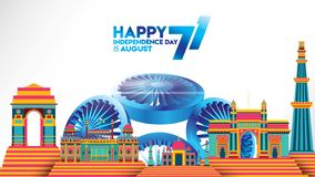 Indiański dnia niepodległości projekt dla witać, sztandar lub tło royalty ilustracja