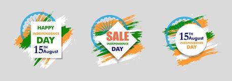 Indiański dnia niepodległości tło z Ashoka koła 15 th august Szyldową sprzedażą dla sztandaru lub plakata Kolory flaga państowowa Obrazy Stock