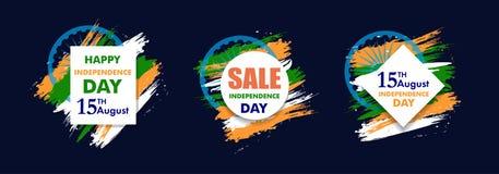 Indiański dnia niepodległości tło z Ashoka koła 15 th august Szyldową sprzedażą dla sztandaru lub plakata Kolory flaga państowowa Zdjęcie Stock