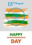Indiański dzień niepodległości z Ashoka koła 15 th august plakatem lub sztandarem kolory flaga państowowa wektor Obrazy Stock