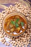Indiański korzenny chana masala z surowymi chickpeas, kardamon na wierzchołku fotografia royalty free