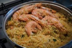 Indiański krewetkowy biriani Rice z krewetkami i pikantność zdjęcie royalty free