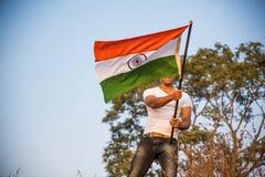 Indiański mężczyzna i hindus flaga obraz royalty free
