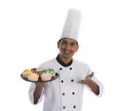 Indiański męski szef kuchni Fotografia Stock