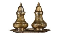 Indiański metal ustawiający dla soli i pieprzu Obraz Stock