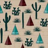 Indiański plemienny tło Prosty płaski wigwam, kaktus i trawa, Bezszwowy wzoru krajobraz Minimalistyczny projekt Kreskówki illustr Obraz Royalty Free