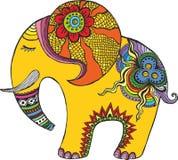 Indiański słoń w tęcza kolorach Obrazy Stock