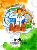 Indiański tło z ludźmi salutuje z sławnym pomnikowym Czerwonym fortem dla dnia niepodległości India ilustracja wektor