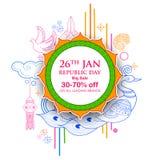 Indiański tło z tricolor dla 26th Stycznia republiki Szczęśliwego dnia India sprzedaży i promoci reklamy sztandar Zdjęcia Royalty Free