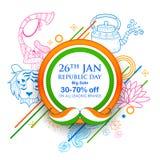 Indiański tło z tricolor dla 26th Stycznia republiki Szczęśliwego dnia India sprzedaży i promoci reklamy sztandar Fotografia Royalty Free