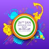 Indiański tło z tricolor dla 26th Stycznia republiki Szczęśliwego dnia India sprzedaży i promoci reklamy sztandar Zdjęcie Stock