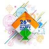 Indiański tło z tricolor kaniami dla 26th Stycznia republiki Szczęśliwego dnia India Obrazy Royalty Free