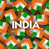 Indiański tło z tricolor kaniami dla 26th Stycznia republiki Szczęśliwego dnia India Zdjęcia Royalty Free