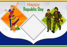 Indiański tancerz i żołnierz na 26th Styczniu, Szczęśliwy republika dzień India Obraz Royalty Free