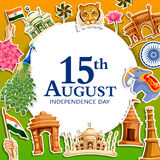 Indiański tricolor tło dla 15th Sierpniowego Szczęśliwego dnia niepodległości India Zdjęcie Stock
