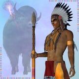 Indiański Trwanie bizon Zdjęcia Royalty Free