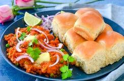 Indiański uliczny jedzenia pav bhaji fotografia stock