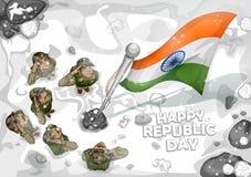 Indiański wojska soilder salutuje falg India na Szczęśliwym republika dniu royalty ilustracja