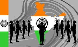 Indiański wojsko wybawiciel bogini bharat Mata również zwrócić corel ilustracji wektora royalty ilustracja