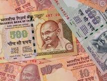 Indiańskich waluta banknotów biznesowy tło, India gospodarki żebro Zdjęcia Royalty Free