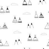 Indiańskich wigwamów minimalistic bezszwowy tło Obrazy Royalty Free