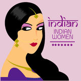 Indiańskie piękne kobiety długie włosy Z purpury sukni wektorowym projektem Obraz Stock