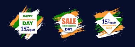 Indiańskiego dnia niepodległości tła 15 th august Szyldowa sprzedaż dla sztandaru lub plakata Kolory flaga państowowa wektor Fotografia Stock