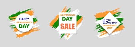 Indiańskiego dnia niepodległości tła 15 th august Szyldowa sprzedaż dla sztandaru lub plakata Kolory flaga państowowa wektor Obrazy Royalty Free