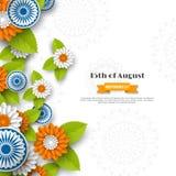 Indiańskiego dnia niepodległości wakacyjny projekt 3d koła, kwiaty z liśćmi w tradycyjny tricolor hindus flaga papieru cięcie ilustracja wektor