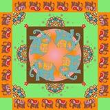 india Älskvärd bordduk eller täcke Etniskt bandanatryck med den dekorativa gränsen Arkivbilder