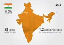 India światowa mapa z piksla diamentu teksturą Zdjęcia Stock