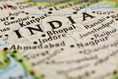 India. Close up on an India Map Royalty Free Stock Photo