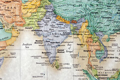 India. Map of india and surrounding countries and water royalty free stock images