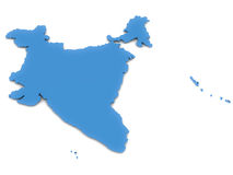 India. 3d map of India in blue, over white background, includes the island territories in Indian ocean stock illustration