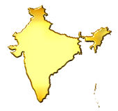 India 3d Golden Map Stock Photo