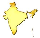 India 3d Golden Map Stock Photo