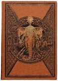 India. Cover of a vintage book about India with elephant's head and engraved ornamental pattern Stock Images