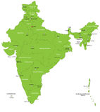 India. Map designed in illustration with regions colored in green colors and with the main cities. Neighbouring countries are in an additional format (.AI) in stock illustration