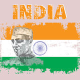 India. Abstract vector illustration in vintage style with the image of a texture portrait of Jawaharlal Nehru against the background of the national flag and stock illustration