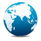 India, Africa, China, Indian Ocean, Global World Planet Earth Icon. India, Africa, China, Indian Ocean, Vector Map Icon of the World Globe royalty free illustration