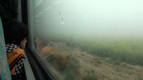 INDIA, AGRA – DECEMBER 23: indian child near train window and fog. December 23, 2012, near Agra, India stock footage