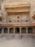India, Ajanta cave. Buddhist temples forged in rocks in the Ajanta town in India, Maharashtra, India (Unesco Royalty Free Stock Photo