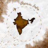 India akwareli mapa w sepiowych kolorach Zdjęcia Royalty Free
