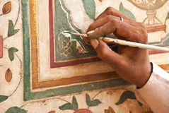 India, Amber fort: restauration of wall paints Stock Images