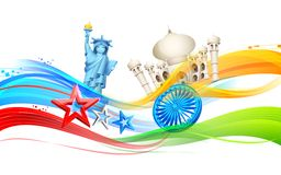 India-America relationship. Illustration of India-America relationship with monument Royalty Free Stock Photography