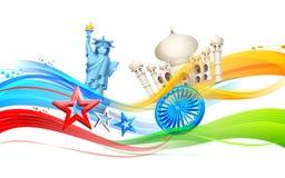 India-America relationship. Illustration of India-America relationship with monument vector illustration